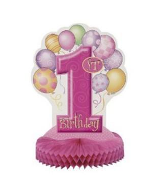 Декорація на стіл 1-st birthday рожева 1шт/уп