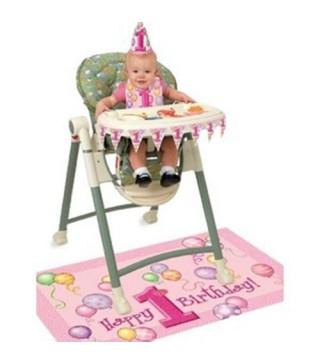 Декорация на кресло для кормленя 1-й год розовая