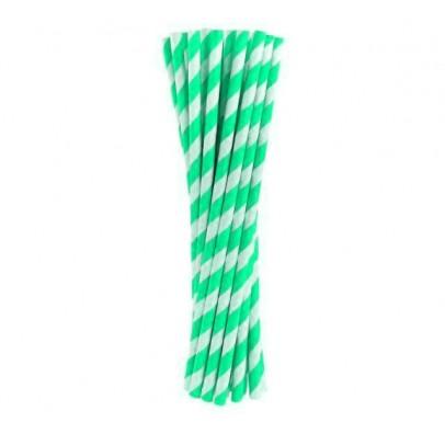 Трубочки для коктелю папер білі в салатову полоску10шт/уп. 49436 Польща