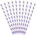 Трубочки для коктейля белые в фиолетовую полоску 10шт / уп