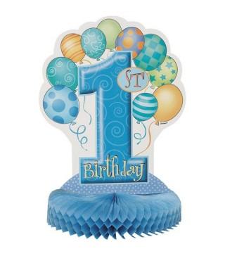 Декорація на стіл 1-st birthday блакитна 1шт/уп