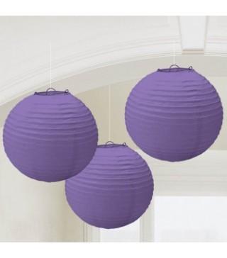 Бумажные шары фиолетовые 3шт/уп