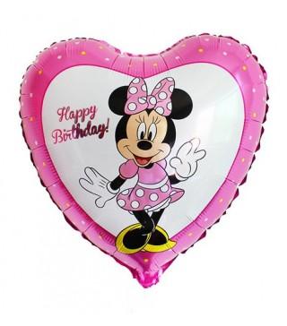 Шарик Сердце Happy Birthday Минни