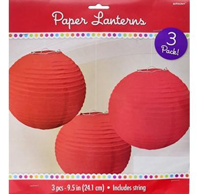 Бумажные шары красные 3шт/уп