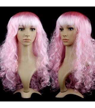 Парик волнистый розовый