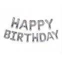 Шарики-буквы Happy Birthday серебряные