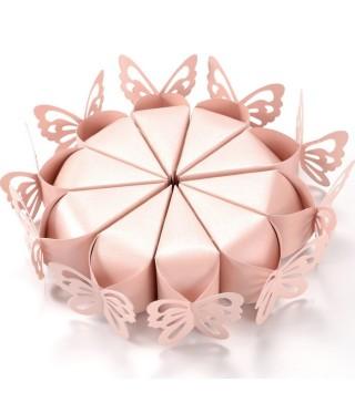 Бонбоньєрка тортик Метелик рожева