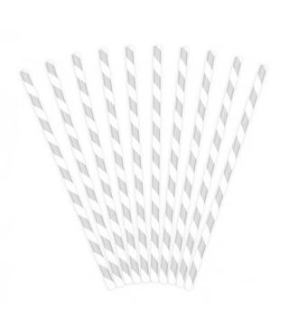 Трубочки для коктелю папер білі в сріблу полоску10шт/уп. 49439 Польща