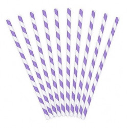 Трубочки для коктейлю білі в фіолетову полоску 10шт/уп