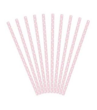 Трубочки для коктелю папер рожеві горох 10шт/уп. 49442 Польща