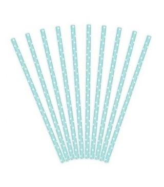 Трубочки для коктелю папер голубі в горох 10шт/уп. 71455 Польща