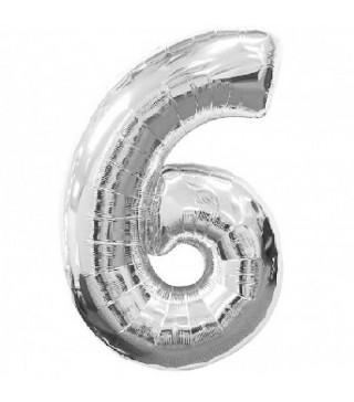 Шарик Цифра 6 (86 см) серебро
