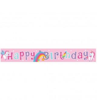 """Банер """" Happy birthday"""" Єдиноріг 183см рожевий 10537 Godan"""