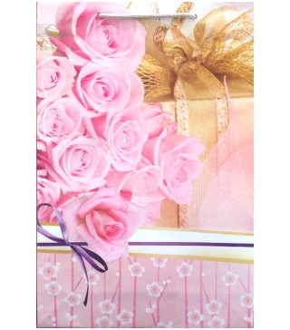"""Пакети подарункові """" Рожеві троянди"""" 25,5*39*8см. папір,плівка 2565 Украина"""