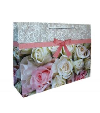 """Пакети подарункові """"Білі і рожеві троянди"""" 30*45*12см папір,плівка 1677 Украина"""