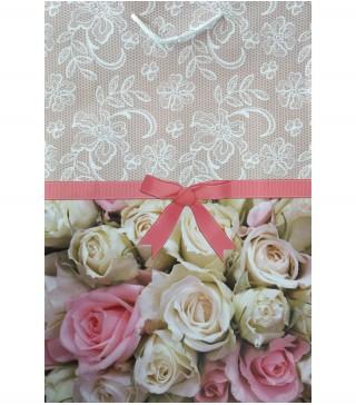 """Пакети подарункові """"Білі і рожеві троянди"""" 36*26,5*10см. папір,плівка 1670 Украина"""