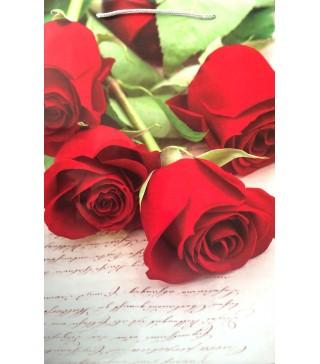 """Пакети подарункові """"Червоні троянди"""" 25,5*39*8см. папір,плівка 2567 Украина"""