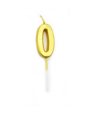 Свічка цифра 0 золото парафін 04655