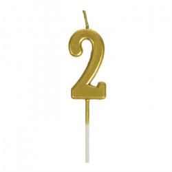 Свічка цифра 2 золото парафін 04657