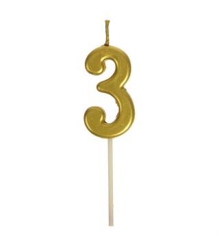 Свічка цифра 3 золото парафін 04658