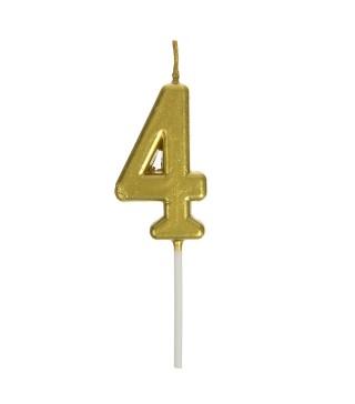 Свічка цифра 4 золото парафін 04659