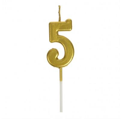 Свічка цифра 5 золото парафін 04660