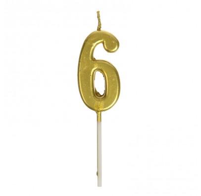 Свічка цифра 6 золото парафін 04661