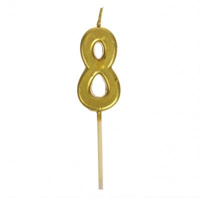 Свічка цифра 8 золото парафін 04663