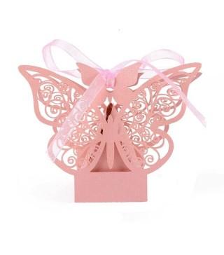 Бонбоньєрка метелик рожевий папір БО-31027 Китай