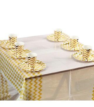 Скатертина Біла в золотий зігзаг Поліетилен 41222 Китай