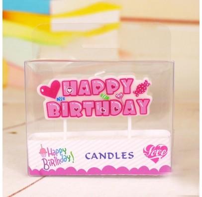 """Свічка в торт з фігурками Свічки """"Happy Birthday"""" рож.свято парафін 53758 Китай"""