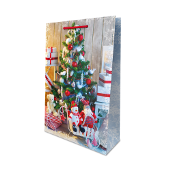 Подарунковийі пакет Новорічний Ялинка папір 23007
