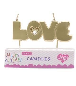 """Свічка в торт з фігурками """"Happy Birthday Love золота парафін 537597 Китай"""