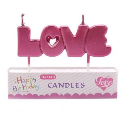 """Свічка в торт з фігурками """"Happy Birthday Love малинова парафін 537596 Китай"""