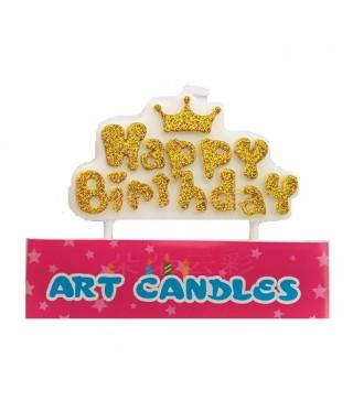 """Свічка в торт з фігурками """"Happy Birthday"""" корона, золота посипка парафін 537599 Китай"""