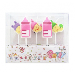 """Свічка в торт з фігурками """" Happy birthday""""Малятко рож парафін 221437 Китай"""