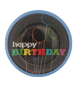 "Тарілки ""Нappy Birthday"" чорні 8 шт./уп. 181843 ТМ""FunFan"""