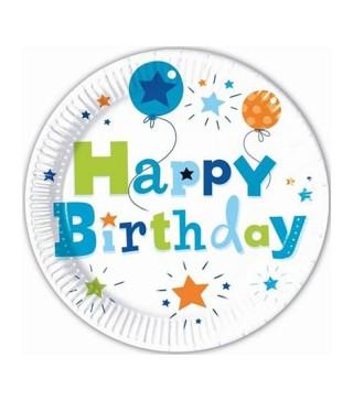 Тарілки Happy Birthday блакитні 8 шт/уп