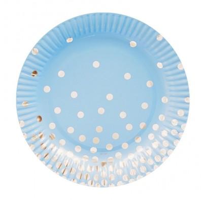 Тарелки голубые в серебряный горох 6шт/уп