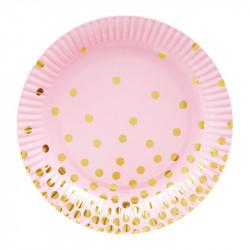 Тарілки рожеві у золотий...