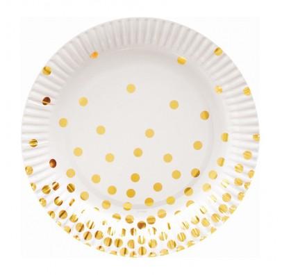 Тарелки белые в золотой горох 6шт/уп
