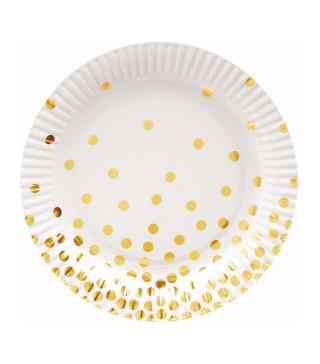 Тарілки білі в золотий горох 6шт/уп