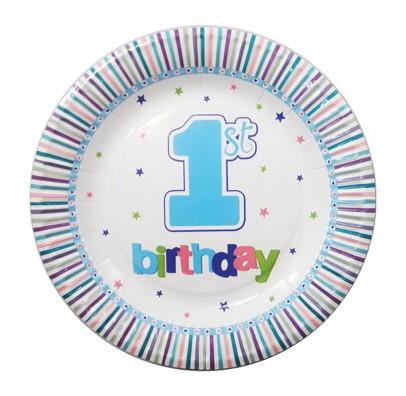 Тарелки 1-st Birthday голубые 8шт/уп