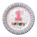 Тарелки 1-st Birthday розовые 8шт/уп