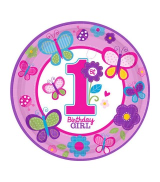 Тарелки 1st Birthday girl 8 шт/уп