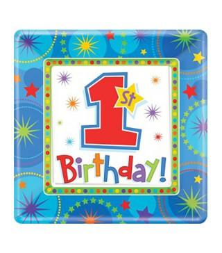 Тарелки 1-st Birthday boy 8шт/уп