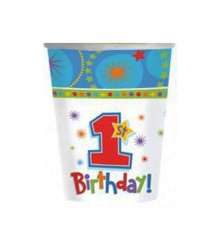 Стаканчики 1-st Birthday boy 8шт/уп