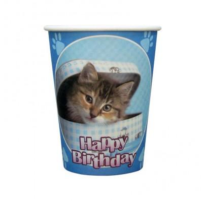 Стаканы Happy Birthday котик голубые