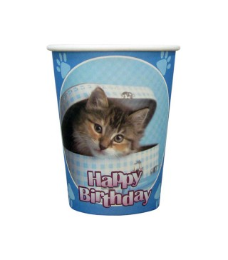 Стаканы Happy Birthday котик голубые