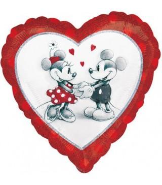 Кулька фольгована серце Міккі та Мінні